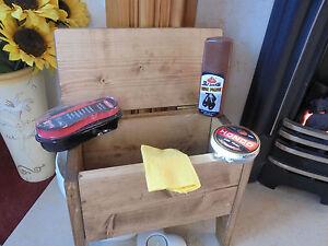 Retro vintage style wood buffet stool SHOE CLEANING BOX & polish kit rustic