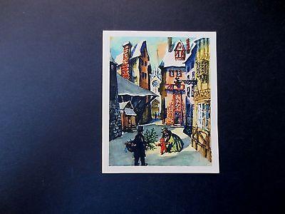 #L183- Vintage 1945 Ars Sacra  Xmas Greeting Card Holiday Village
