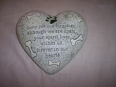 "Dog Memorial Heart Shaped Garden Love Stone, 6"" x 5-1/2"""