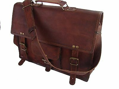 Men's Genuine Vintage Dark Brown Leather Messenger Bag Laptop Bag Briefcase