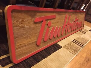 Tim Horton's wooden Canadiana indoor store sign 8 feet.