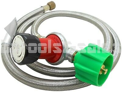 - 4ft Stainless Steel Adjustable High Pressure Propane Regulator Hose 30 PSI QCC-1