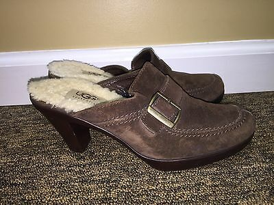 Brown Suede High Heel - Uggs Womens Brown Suede Leather Open High Heel Buckle 6.5 pre-owned