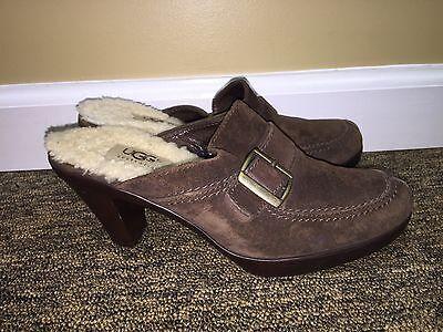 Brown Suede High Heel - Uggs Womens Brown Suede Leather Open High Heel Buckle 6.5 pre-owned