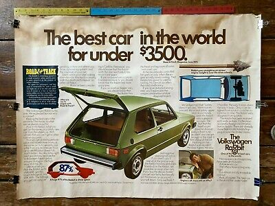Vintage original dealer advertising poster Volkswagon VW Rabbit 1976 $3499 30x40