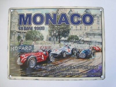 Monaco Grand Prix Racing Cars 1956  Vintage Retro Metal Tin Sign 20x15cms