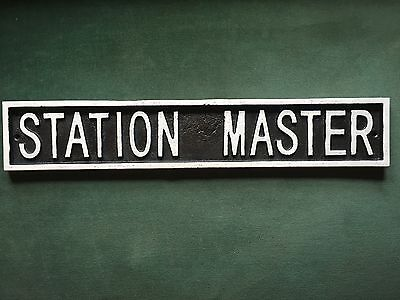 Station Master Cast Iron Train Engine Sign Railway Nameplate