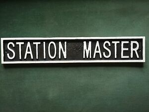 Man Cave Station Master Cast Iron Train Engine Sign Railway Nameplate