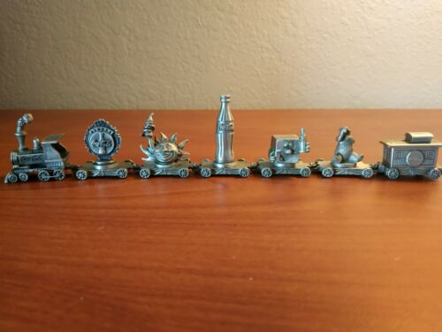 Coca-Cola Collectable 1995 Pewter Miniature Train Set of 7 Pieces
