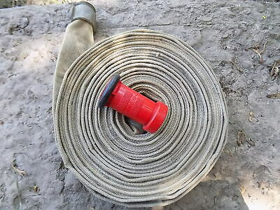 Fire Hose 1-12 X 50 Aluminum Fittings And Red Ufs Nozzle Needs New Gasket