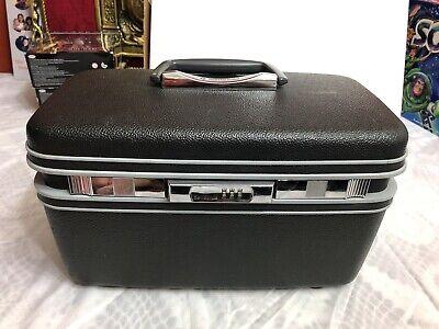 Vintage Samsonite Black Train Case Suitcase W/Tray Blue Interior Combo No Mirror