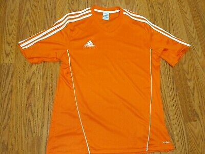 Adidas Performance Soccer Jersey Orange 3 Stripe Climalite VNeck EUC! Orange Striped Soccer Jersey