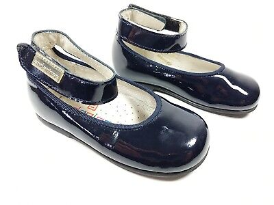 Andanines dark navy patent leather ankle strap shoes eu 22
