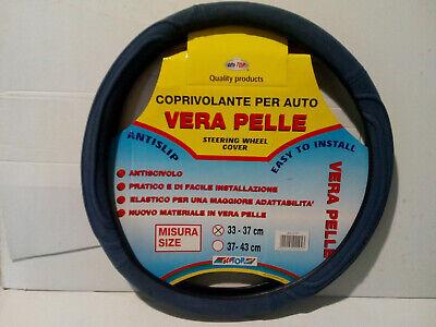 Copri Volante copristerzo auto in vera pelle antiscivolo blu diametro 33-37 cm