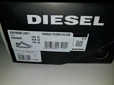 Diesel Exposure Low I Indigo/Black Trainers Shoes Sneakers Men Size 10 NIB for sale  Shipping to India