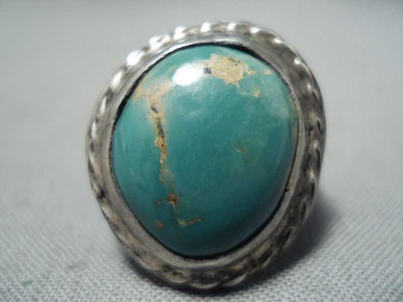 EARLY VINTAGE NAVAJO ROYSTON TURQUOISE STERLING SILVER RING OLD