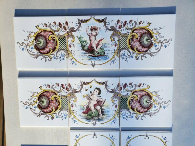 Vintage Ceramic Tile Sets Putti Dolphin Cherub Shell Mythology 6x6 England Made