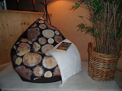 """Sitzsack """"von Lux """" XXL 380 L Baumwollstoff Baum  Lederimi braun Landhaus Heine"""