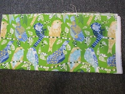 "Richloom Green Birds Original Screen Printed Upholstery Fabric Size 54"" X 24.5"""