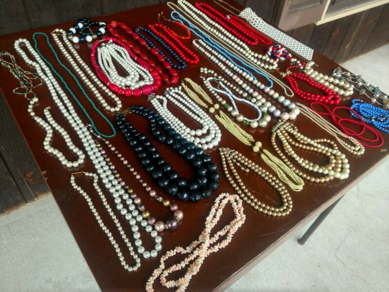 Vintage/Newer Costume Jewelry Lot of 36 Bead Necklaces Pretty Mix of styles