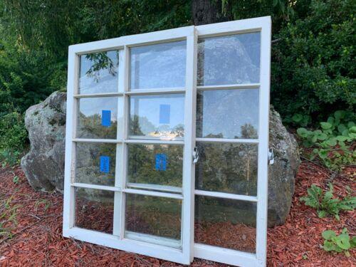 2 - 36 x 25 Vintage Window sash Beige old 8 pane From 1947 Arts & Craft