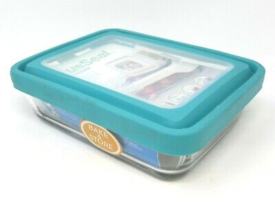 Anchor Hocking TrueSeal 6 Cup Rectangle Food Storage Container with Teal Lid 6 Cup Rectangle Storage