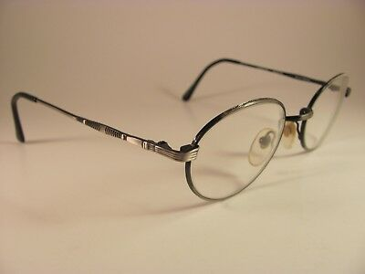 Eye Q Omni Pewter & Black Engraved Full-Rim RX Eyeglass Frames 49-21-135