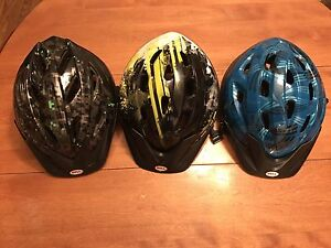 3 youth sized helmets