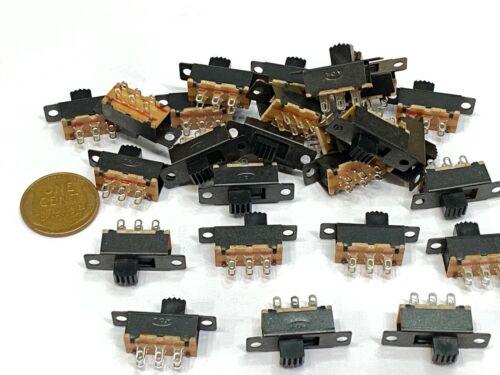 25 x Mini Slide Switch 6-Pin 2-Position DPDT On/On Slider Switches Black Tiny C1