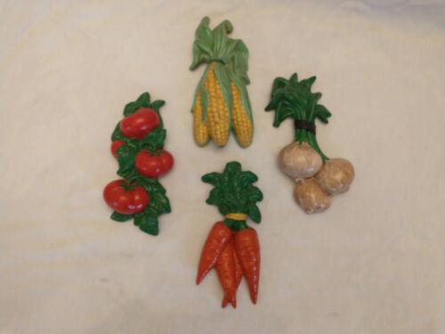 4 Vintage Ceramic Vegetable Wall Hangings Retro Corn Tomato Onion Carrot