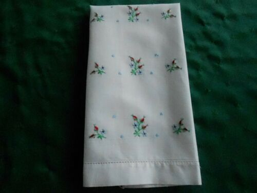 PINK VINTAGE TOWEL WITH RED ROSE BUDS AND BLUE FLOWERS, HAND EMBROIDERED,1930