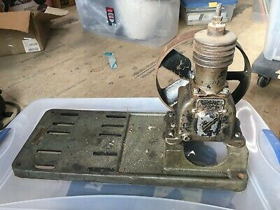 Vintage Antique Kellogg Model 201 Air Compressor W 8 Pulley Cast Motor Base