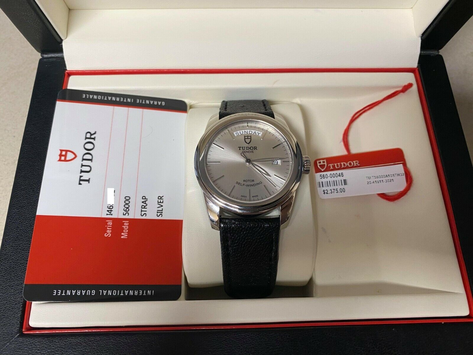 Tudor 56000 Glamour Day Date Self-Winding Watch Box & Card w/ Factory Warranty - watch picture 1