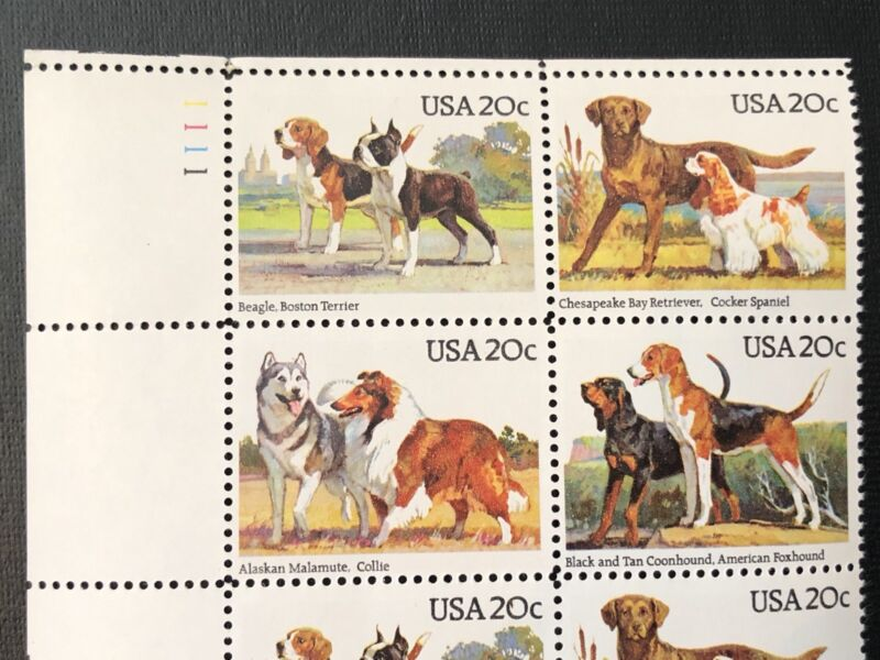 Vintage 1984 DOG BREEDS USPS Block of 16 Stamps Scott 2098-2101 Mr Zip 20c MNH