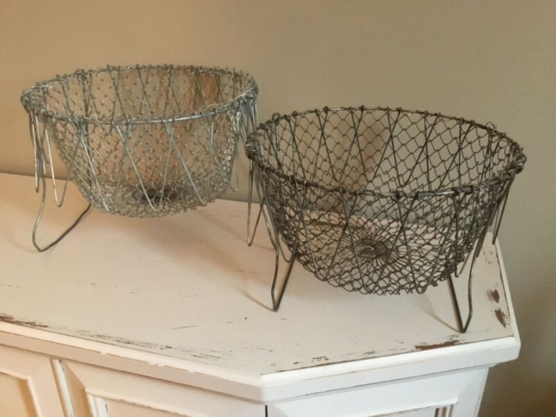Two Vintage Collapsible Wire Egg and Fruit Gathering Baskets - Good Condition