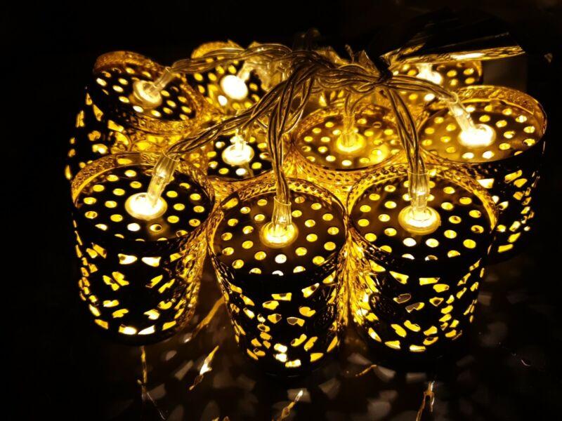 Konstsmide+10+Gold+LED+Metal+Cylinder+Christmas+party+lights+INDOOR+battery
