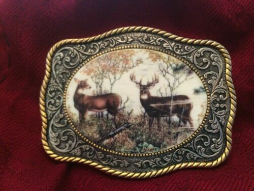 FRANKLIN MINT 10 Point Buck Deer Sportsman Belt Buckle RICK FIELDS