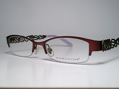 New Ladies MARCHON M201 Cord Rimless Eyeglasses Frame PurpleBlack 48-17 List$150