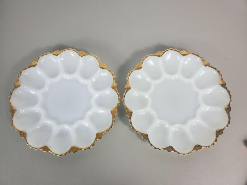 2 Vintage Anchor Hocking Milk Glass Deviled Egg Plate Gold Trim Ornate Bottom