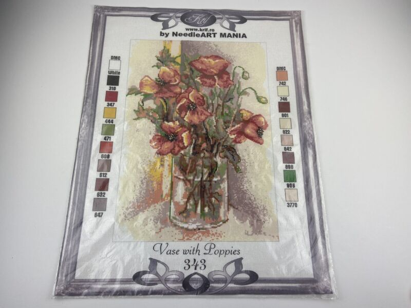"""Krif  Was With Poppies Needlepoint Canvas Needleart Mania 12"""" By 17"""" Red"""