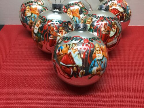 "Vintage Lot of 6 Large 3 1/4 "" Plastic  Christmas Themed Wrapped Ornaments USA"