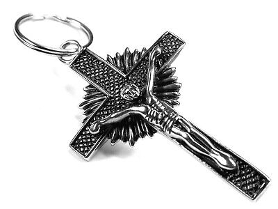 Edelstahl Schlüsselanhänger Anhänger Kreuz Jesus Kruzifix Höhe - 6 cm