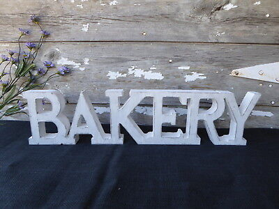 "BAKERY Distressed White 21"" Hang Or Sit Fixer Upper Baker Kitchen WOOD SIGN"