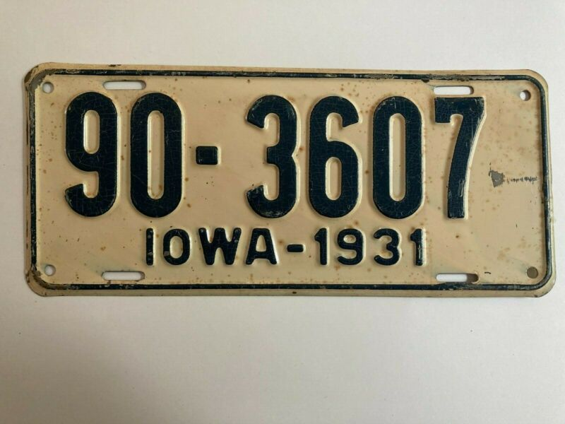 1931 Iowa License Plate All Original Paint