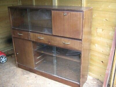 1950/60s (Well Made/Solid) DISPLAY CABINET GLASS + DRAWERS,CUPBOARD & FOLD DOWN