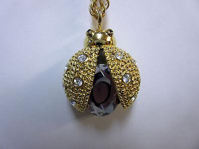 New Gold Ladybug Stones Studded Necklace Quartz Watch White Dial