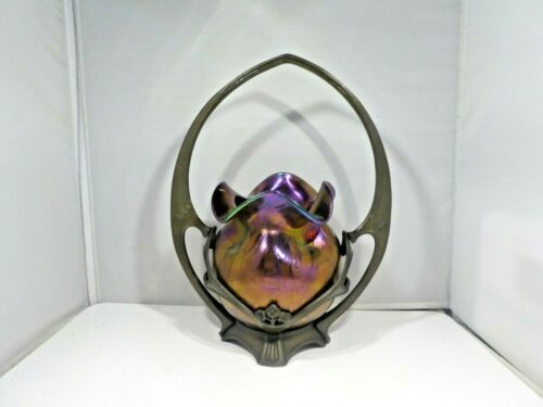 BIOMORPHIC  LOETZ  VASE IN BRONZE HOLDER