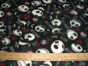 Fleece Fabric ~ Jack Skellington / Nightmare Before Christmas w/red ...