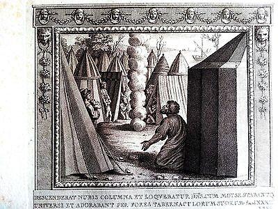 Raffaello Sanzio steel plate hand pulled original moses worship pillar of cloud