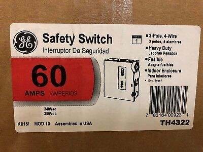 Ge Th4322 Disconnect Switch Fusible 60a 240vac 250vdc 3p Nema 1 New In Box